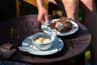 Ice cream selection served at Studland restaurant Knoll House