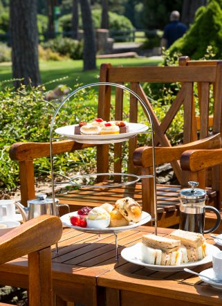 Dorset cream tea served in the grounds of Knoll House