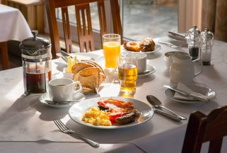 Breakfast served at Studland Bay restaurant