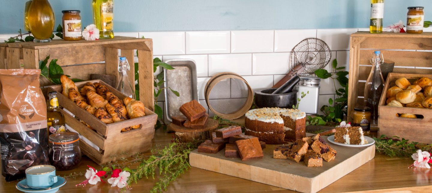 Pastry and cake buffet at Studland Bay restaurant