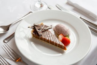 Chocolate dessert served at top restaurant in Dorset