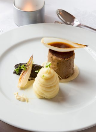 A plated dessert at fine-dining Dorset restaurant, Knoll House