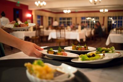 Fine dining being served at top restaurant in Dorset