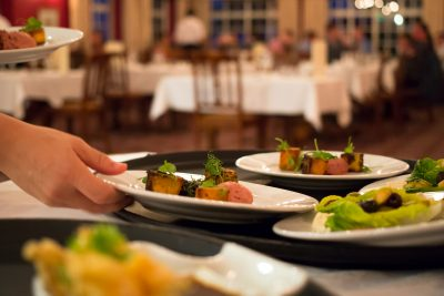 Service of food at top restaurant in Dorset