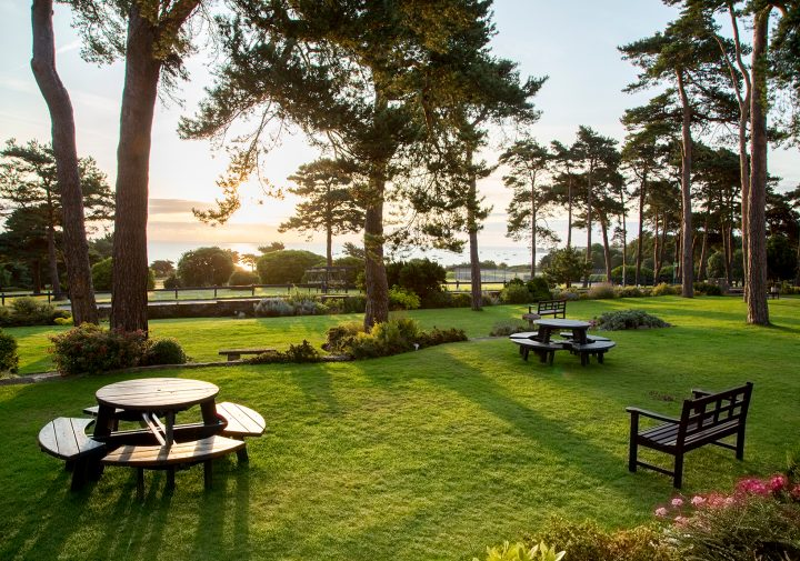 Hotel gardens with sea views across Studland Baysss