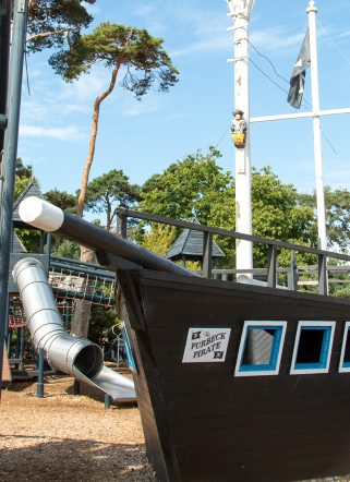 Pirate ship outdoor play area at a family-friendly hotel in Dorset