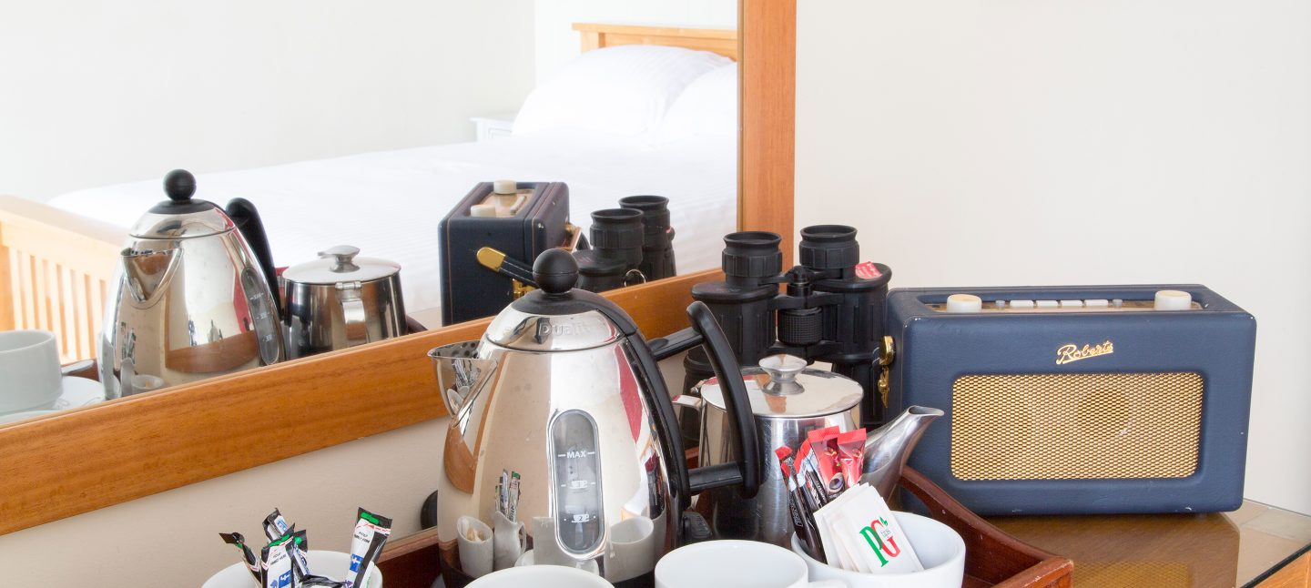 Tea making facilities in two bed suite in Knoll House
