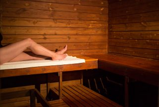 Sauna interior at a spa hotel in Dorset