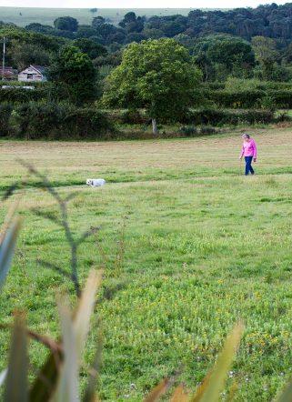 Woman walking her dog in countryside surroundings of Dorset beach hotel