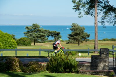 Cycling in Dorset alongside Studland Bay